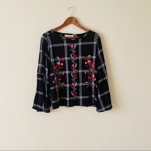 LOFT Black Embroidered Long Sleeve Top
